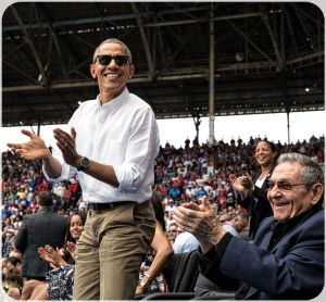 GAME TIME—President Barack Obama and President Raul Castro of Cuba applaud a run by the Tampa Bay Rays during an exhibition baseball game between the Rays and the Cuban National Team at the Estadio Latinoamericano in Havana, Cuba, March 22, 2016. (Official White House Photo by Pete Souza)