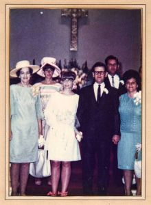 My brother and I, abandoned by our biological father, were hurt, angry little boys when mom remarried and we weren't quite ready for another man to claim us as his own. From left: Grandma Virginia Thurston Santmyer, Aunt Gretchen Newlon, mom and dad, Uncle MIck, Aunt 'Net at the Presbyterian Church in Laguna Beach.