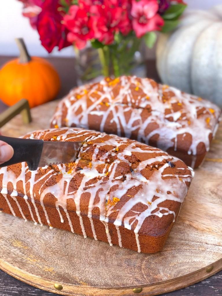 Chocolate Chip Pumpkin Bread with Orange Glaze