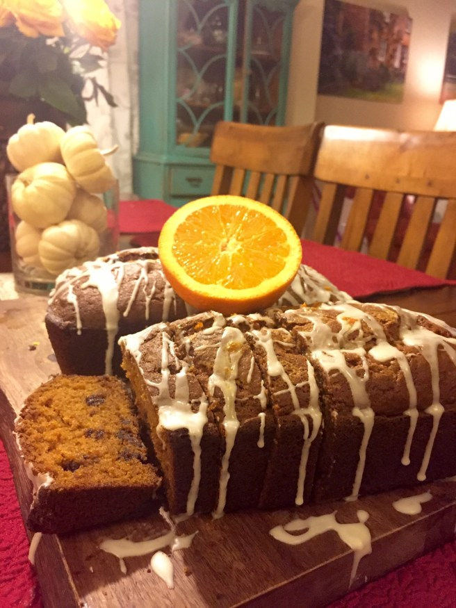 Chocolate Chip Pumpkin Bread with Orange Glaze | The Rose Table