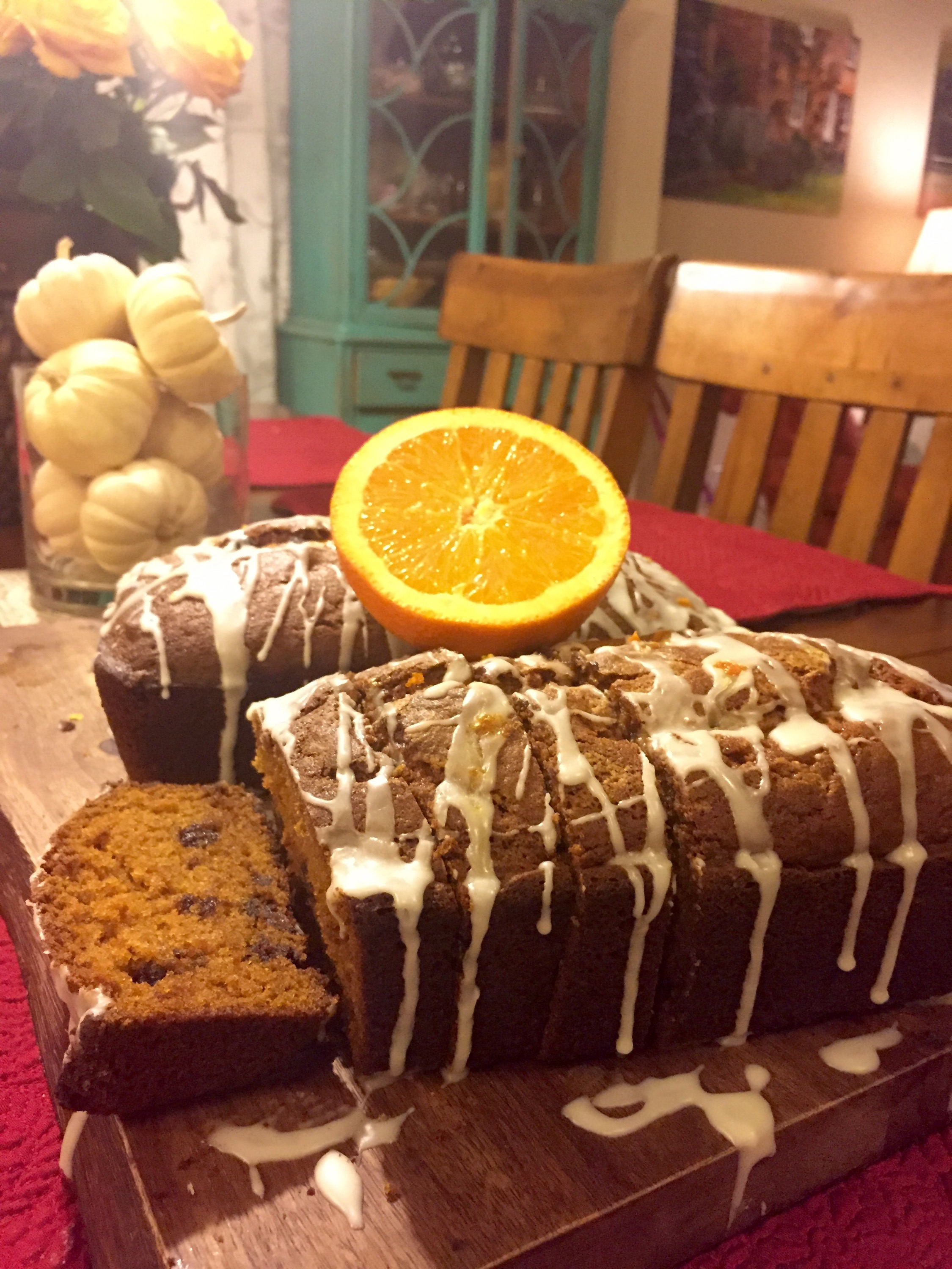 Chocolate Chip Pumpkin Bread with Orange Glaze – The Rose Table