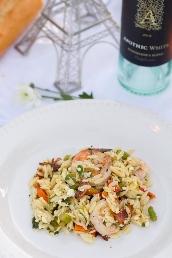 Grilled Shrimp & Veggie Orzo Salad | The Rose Table