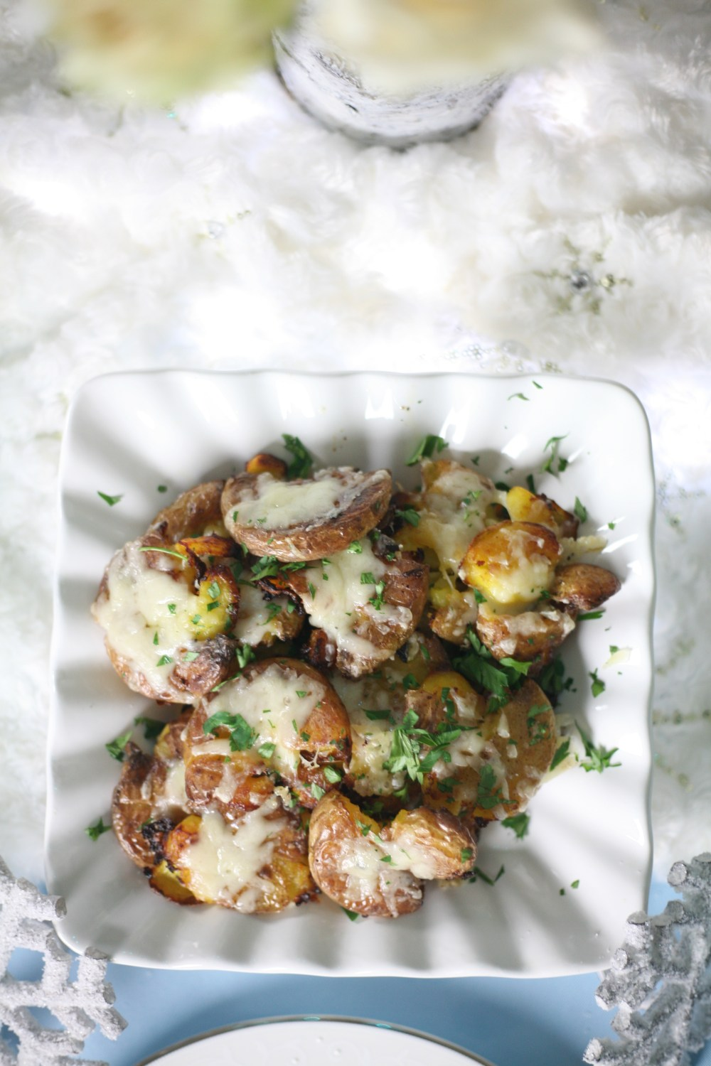 Garlic and Gruyere Smashed Potatoes Recipe | The Rose Table, Frozen recipes, adult Frozen dinner party