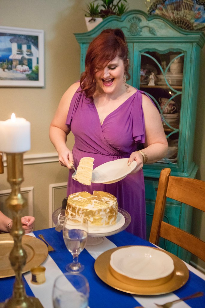 Hercules Cake and how to apply edible gold leaf transfer sheets to frosted cake | The Rose Table