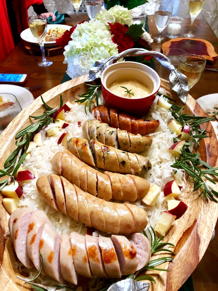 Sausage Flight German Recipes Oktoberfest Ideas | The Rose Table