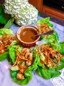 Chicken Lettuce Wraps with Peanut Sauce | The Rose Table