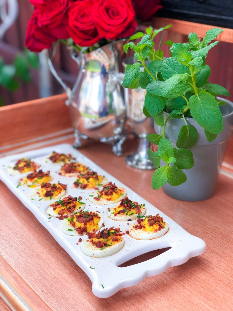 Bacon and Chive Deviled Eggs, Kentucky Derby Party Recipes | The Rose Table