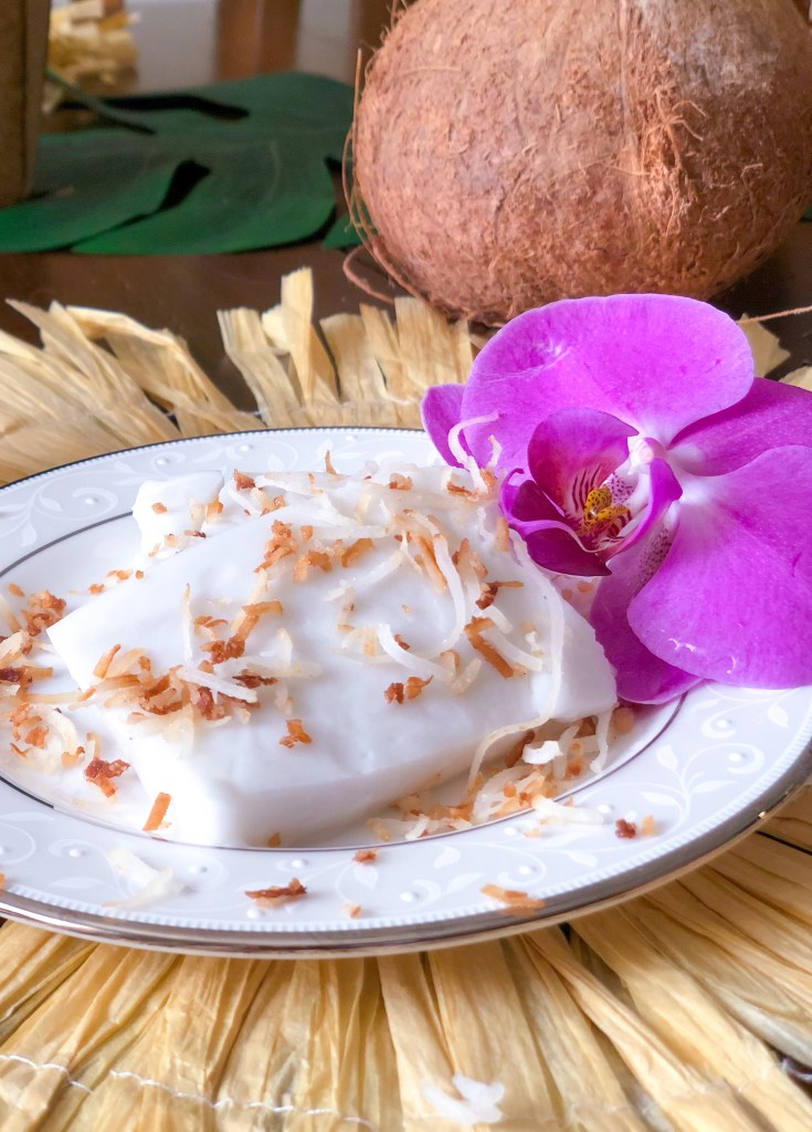 Haupia (Hawaiian Coconut Pudding) Christmas Luau Food Recipes