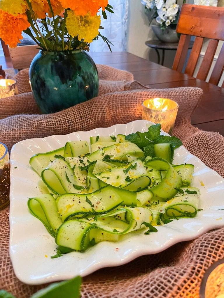 Carpaccio di zucchine e limone e mente   Zucchini Ribbon with Lemon and Mint   Italian Dinner Party Recipe