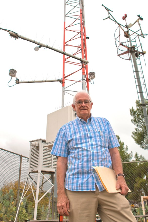 William H. Russell, the current director of the Pierce College Weather Station, poses with the station's latest addition, which was paid for by a government grant on Oct. 11, 2010  (Rick Rameriz / Roundup)