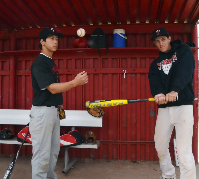 REDEMPTION: Pitcher Harsa Prahera and Short Stop Austin Peters Playing their first year at Pierce College after sitting out their senior year at Chatsworth High School.