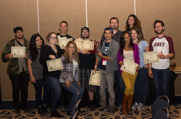 The Roundup and KPCRadio.com staff pose for a group picture after receiving awards at JACC. Photo: Nicolas Heredia
