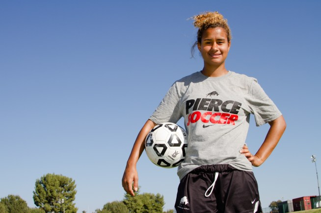 Paige Wolny striker for Pierce Women Soccer team, poses for a Photo during team practice. Wolny who live in Saudi Arabia for 10 years, is the teams' top scorer, at Woodland Hills. Calif. on Sept 17, 2014. Photo by Erick Ceron.