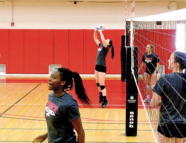 The women's volleyball team and non-team members aspiring to be on the squad practice together at Pierce College on March 19th, 2015.  Woodland Hills, Calif. Photo by: Scott Aaronson