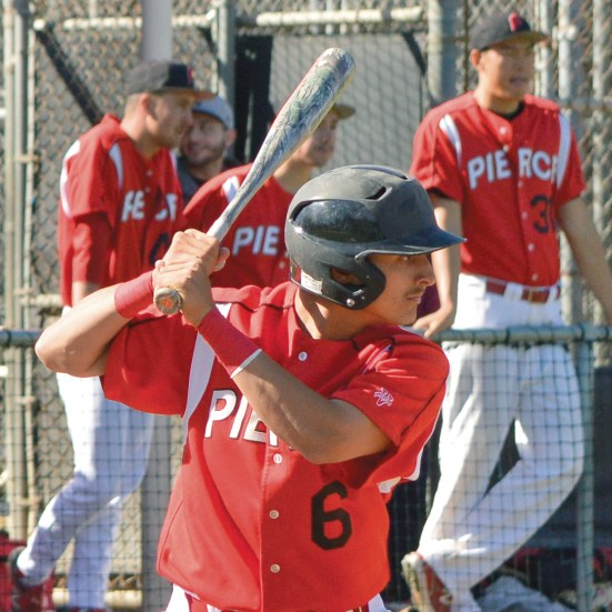 Pierce College vs. Santa Barbara Baseball Game, Pierce player #6, strikes his pose for the swing, at Pierce College Joe Kelly Baseball Field in Woodland Hills, Calif, on Thursday March 5, 2015, at 2:00pm, keeping his body still helps him focus for the hit, he has his legs ready in position with both hands on the baseball bat. (Photo by: Andrew Caceres)