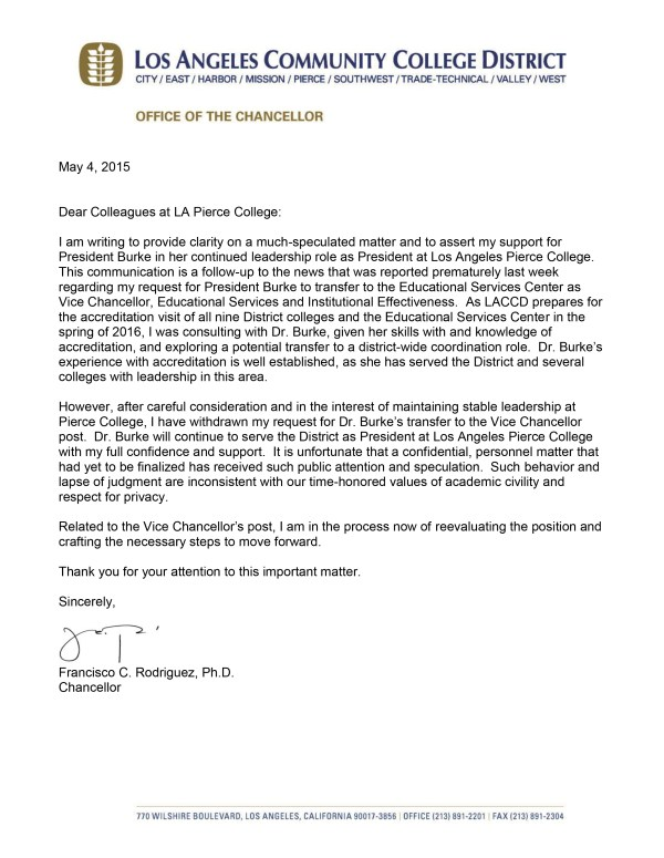 Chancellor Note to Pierce College
