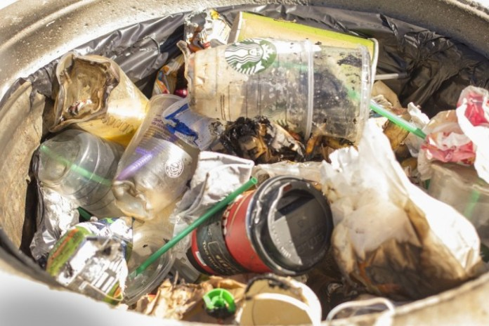Los Angeles Sheriff's Department believe that a lit cigarette ignited a trash can fire in the Center for Sciences courtyard in Pierce College on Wednesday, Sept. 30, 2015 in Woodland Hills, Calif. (Photo by: Alan Castro)