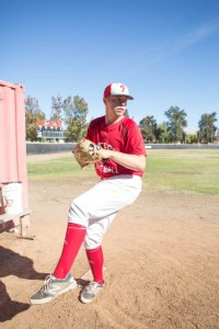 Pitcher Tommy Wilson warms up at the bullpen in Joe Kelly Field at Pierce College on Nov. 17, 2015.(photo  by Joshua Duarte)
