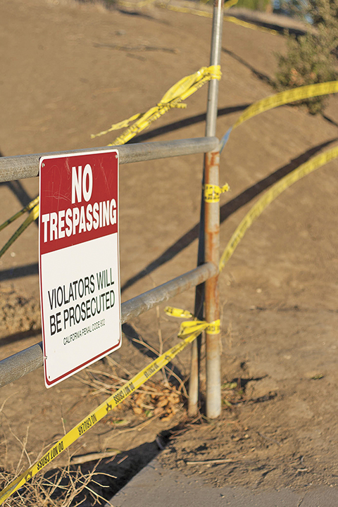 Students, faculty, and atheletes are not allowed to enter the cross country trail at Pierce College in Woodland Hills, Calif. on Oct. 30, 2015.