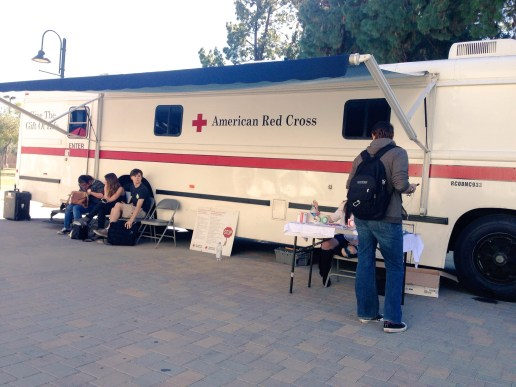 Students wait outside the American Red Cross' mobile blood bank that was parked on The Mall on Wednesday, Feb. 10. Woodland Hills, Calif. Photo: Samantha Bravo