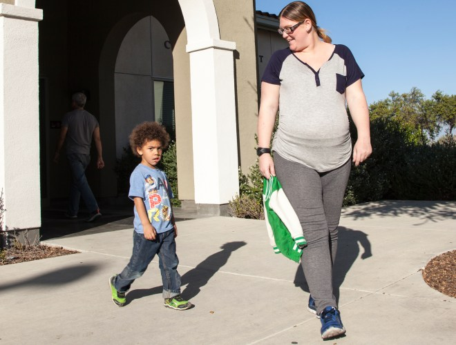 April Reed picks up her son at the Child Development Center on Thursday, Feb. 25, 2016 in Woodland Hills, Calif. April says she has some reservation with photography inside the CDC if cell phones are used because photos could end up on social media but is fine with photos from DSLRs. Photo: Mohammad Djauhari