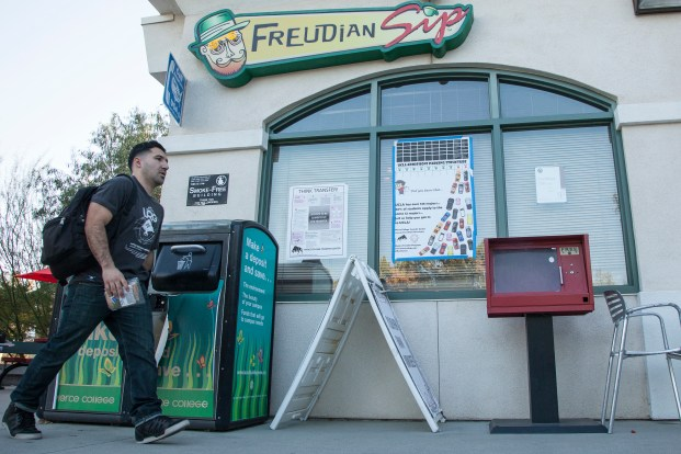 Engineering major Walter Moreno, 25, walks in front of the Freudian Sip on Thursday, Feb. 25, 2016 in Woodland Hills, Calif. The Student Store plans to rebrand the Freudian Sip this semester and the new, unnamed cafe will open sometime during the Summer. Photo: Mohammad Djauhari