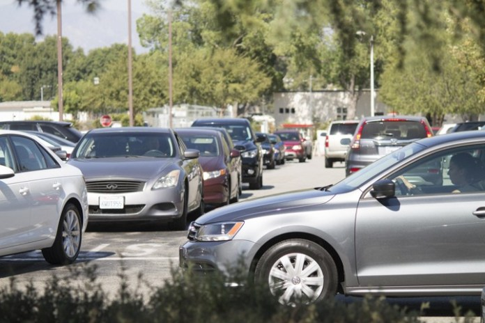 Traffic jam in Parking lot 1 on Aug. 30, 2016, as people rush to look for a  spot before class starts. Woodland Hills, Calif. Photo by Amy Au
