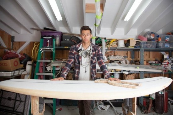 Kieran Gifen, 20, who has ben making custom surfboards since the age of 13 inside his workshop at his home in Woodland Hills, Calif., prepares to work on his next board on Tuesday, Oct. 4, 2016. Photo by Mohammad Djauhari / Roundup