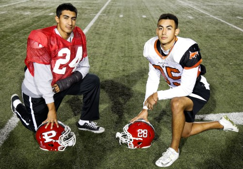 Brothers Eldridge and Sterling Salguero both came to play football at Pierce college because they heard good things, Oct 13 2016, On Football fied, Photo by Abdolreza Rastegarrazi