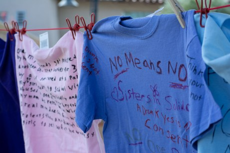 Students were given a variety of different colored shirts, depending on the type of abuse they chose to recognize, to express their support and motivation for survivors of all kinds at the Clothesline Project held at Rocky Young Park in Woodlandhills, Calif. on Oct. 16,2019.