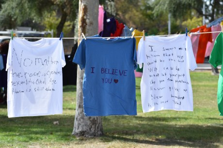 The many shirts on display at the clothesline project not only help to raise awareness towards the many forms of domestic abuse, but also to stand in solidarity with the victims too. Photographed at Rocky Young Park at Pierce College in Woodland Hills, Calif. by Pablo Orihuela on Oct., 10, 2019.