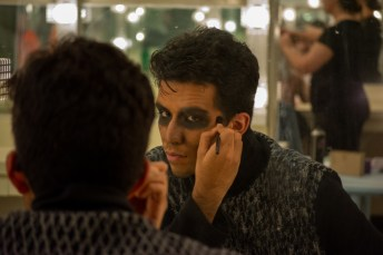 Hookman Ensemble Member, Itzhak Matos, gets in to character before doors open for Pierce College's show Hookman at the Performing Arts Center on the Art Hill in Woodland Hills, Calif., on Oct. 24, 2019. Photo by Sophia Gomez.