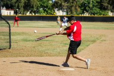 Kenny Baumgartner hits a pitch during Pierce College Baseball's Halloween Backwards Game at Joe Kelly Field in Woodland Hills, Calif. on Oct. 31, 2019. Photo by Benjamin Hanson.