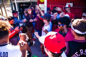 Pierce College Baseball players bring their hands in for a break after Pierce College Baseball's Halloween Backwards Game at Joe Kelly Field in Woodland Hills, Calif. on Oct. 31, 2019. Photo by Benjamin Hanson.