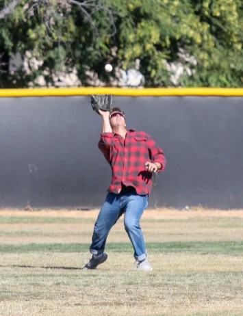 Dirk Ryan attempts to catch the ball during a split-squad Halloween game at Pierce College's Kelly Field on Oct. 31, 2019. Photo by Cecilia Parada.
