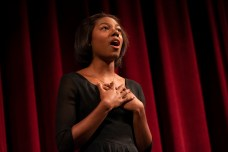 """Michaela Shumpert sings """"Per la gloria d'adorarvi"""" and """"I Could Have Danced All Night"""" during the Performing Arts department's AMP Recital #2 in the Performing Arts Building Mainstage at Pierce College in Woodland Hills, Calif. on Nov. 21, 2019. Photo by Angelica Lopez."""