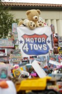 A large display of toy donations at Motor 4 Toys at Pierce College's Parking Lot 7 in Woodland Hills, Calif. on Dec. 1, 2019. Photo by Cecilia Parada.