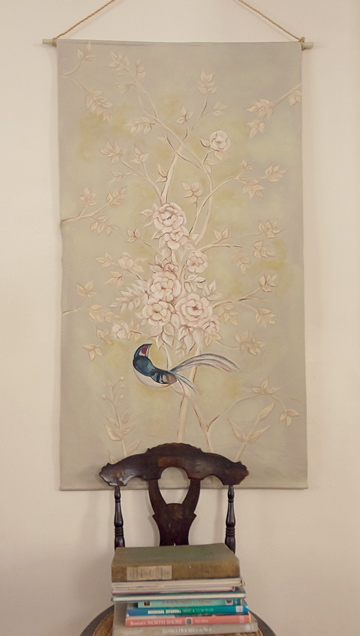 Handpainted chinoiserie canvas panel
