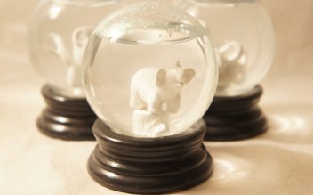 sculpted elephant snow globe