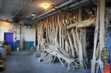 Driftwood installation, not quite open