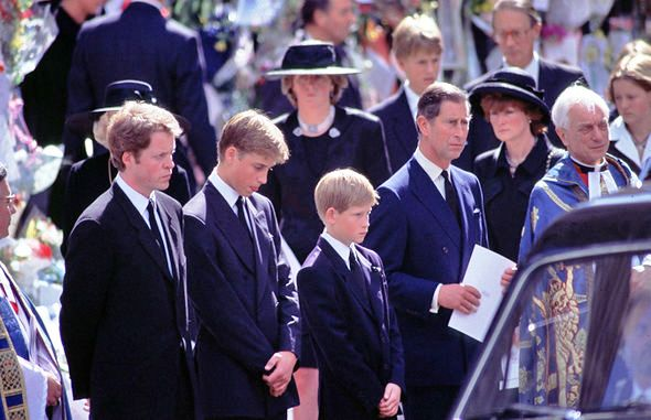 Earl Spencer, William, Harry and the Prince of Wales walked behind the funeral car