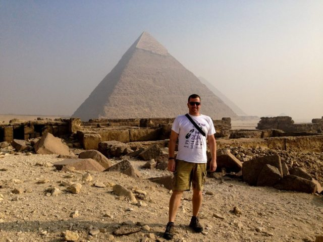 Michael standing in front of the Khafre pyramid. Alone