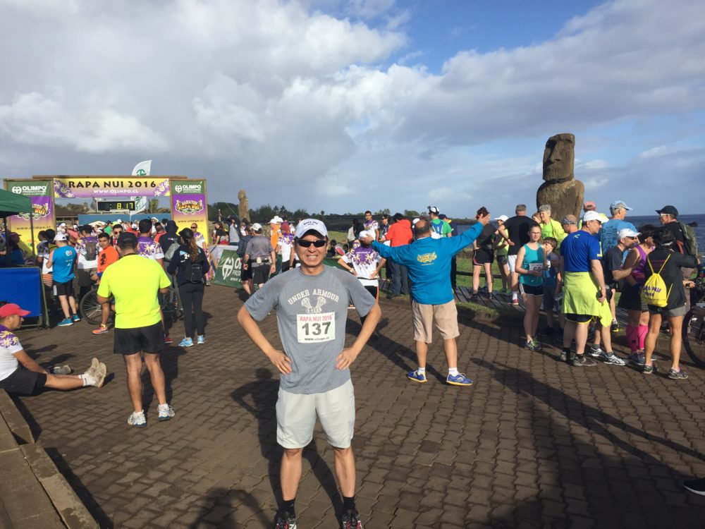 At the starting line of the Rapa Nui Marathon.