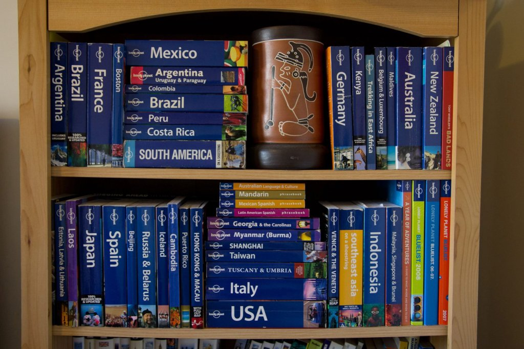 Our Lonely Planet Collection. It's more than doubled in size since this photo.