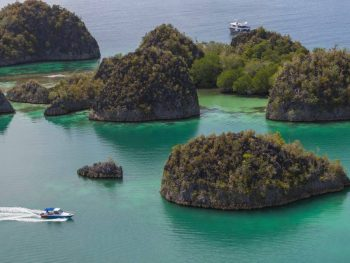 Aerial view of the islands of Raja Ampat