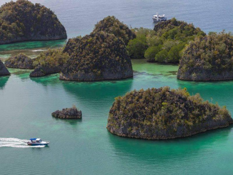 Aerial view of the islands of Raja Ampat