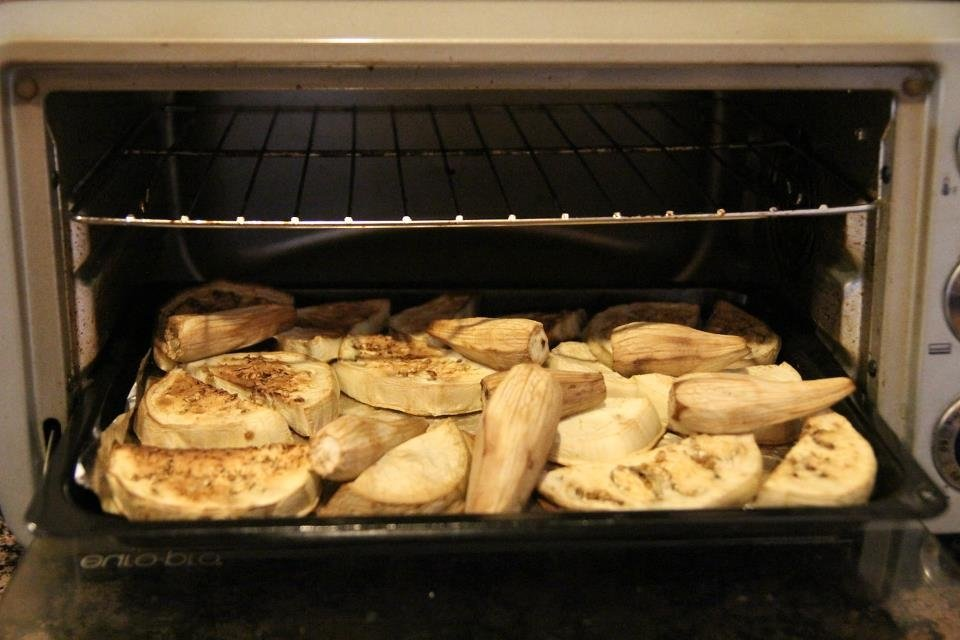 Baba ganoush recipe - peeled eggplants in the oven