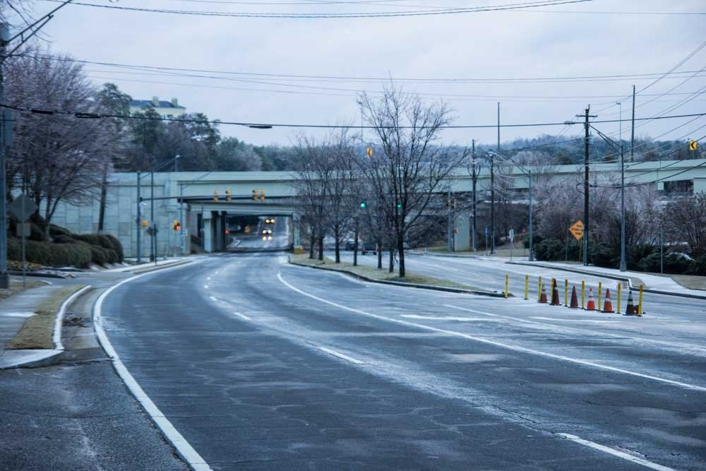 Atlanta winter storm - Sidney Marcus Blvd, empty