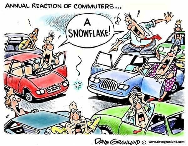 A snowflake seen anywhere can bring us to a standstill - Dave Granlund cartoon