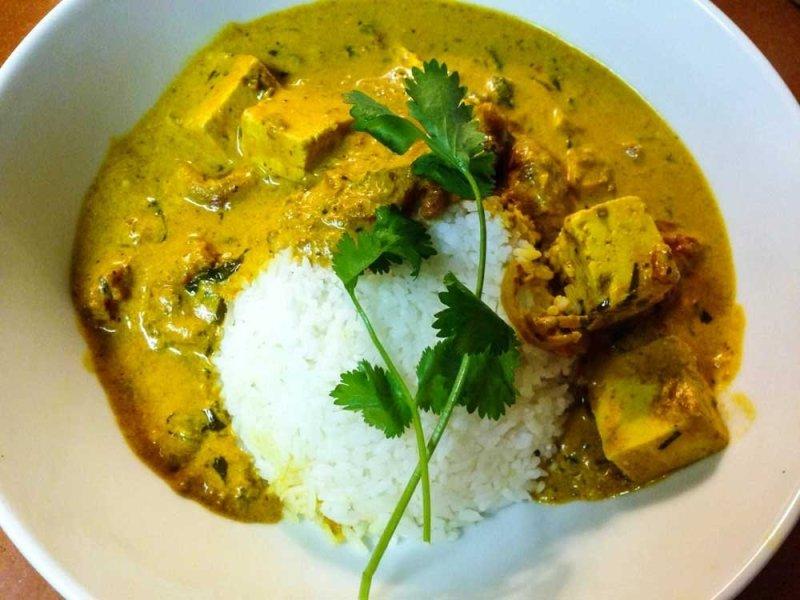 Tikka Masala plated with rice